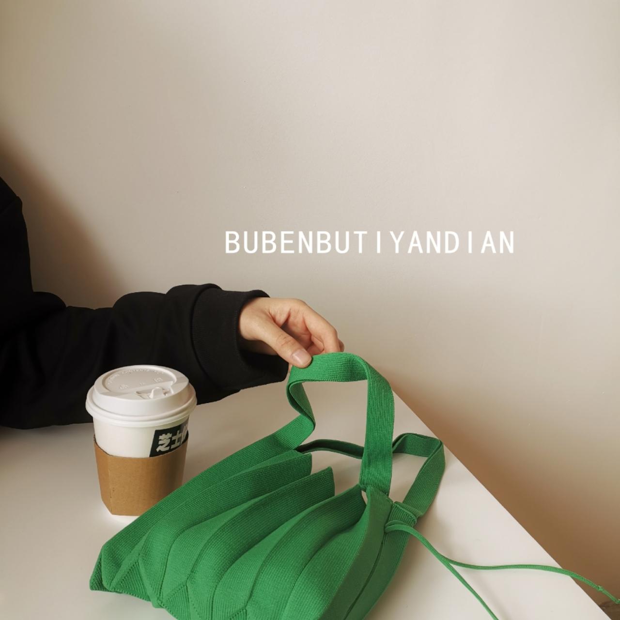 韩国东大门简约时尚小清新ins糖果绿百褶小手提迷你手拿包女包袋