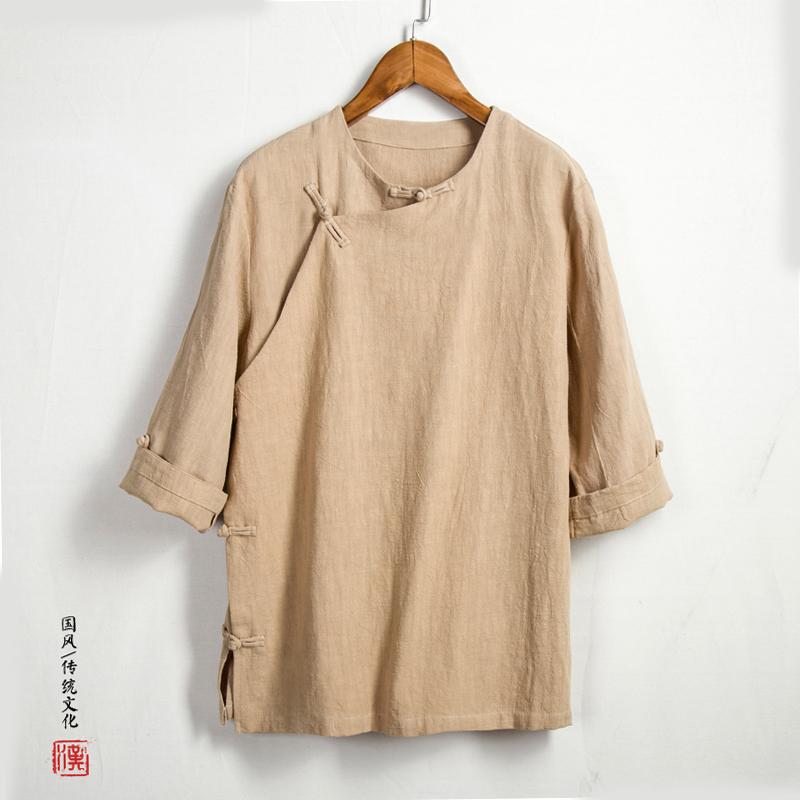 78.00元包邮复古中国风男装T恤中式汉服大码七分袖棉麻盘扣禅意茶服亚麻上衣