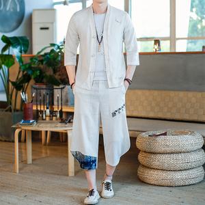 亚麻短袖男士中国风唐装搭配衬衫