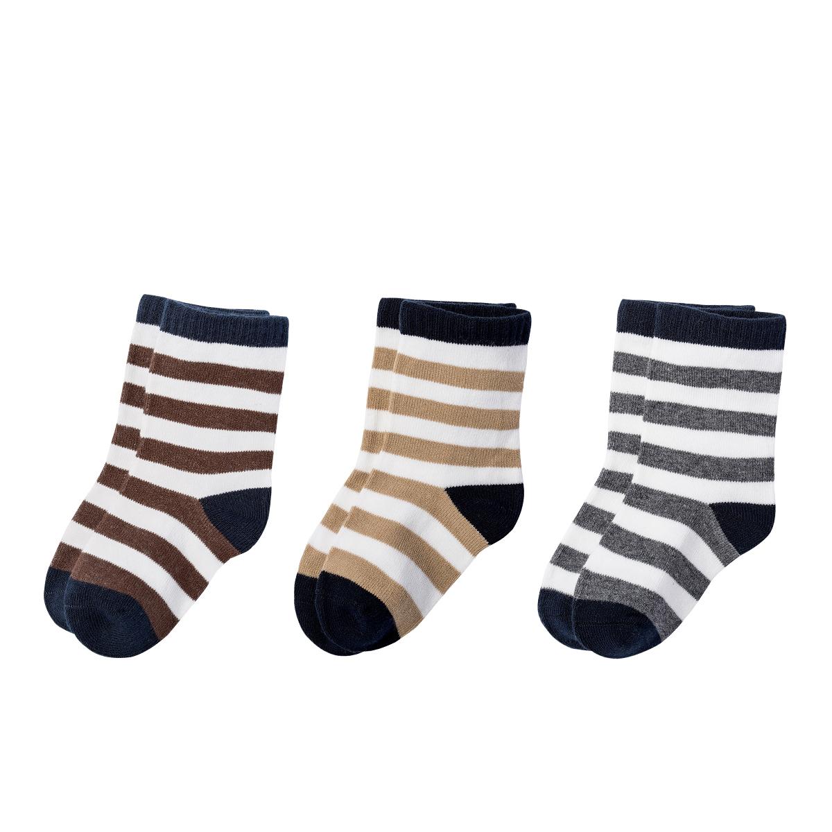 貝貝怡 嬰兒襪子寶寶條紋襪柔軟新生兒襪3雙裝 151P102