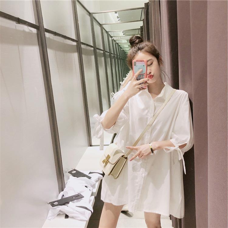 2021夏季新款晚晚风网红女神白色小清新中长袖后背百褶衬衫连衣裙