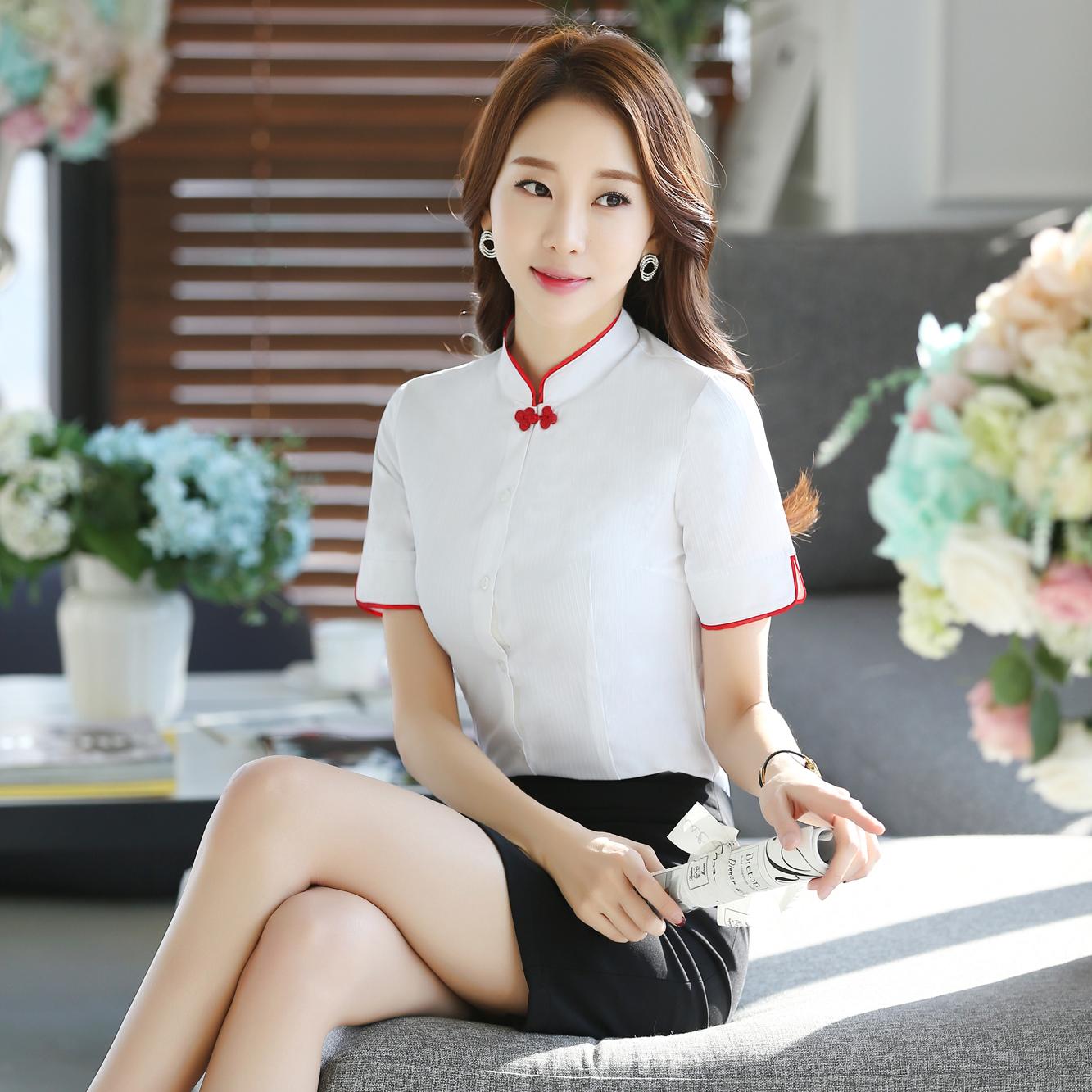 Customized White Shirt Short Sleeve womens work clothes professional shirt half sleeve slim summer standing collar button cotton suit ol