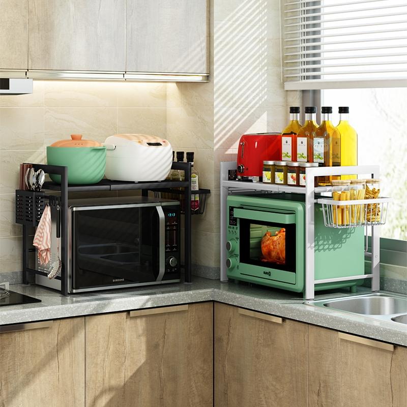 微波炉置物架厨房可伸缩台桌面双层家用放烤箱电饭煲调料收纳架子