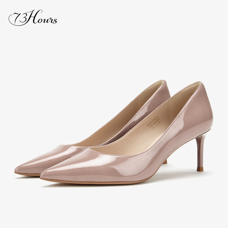 73Hours women's shoes flow golden years with the same Brittany2020 autumn and winter shallow mouth pointed toe commuter high heels women
