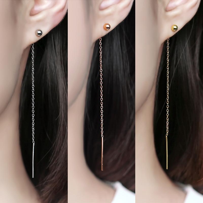 纯银耳线女韩国个性简约百搭显脸瘦的耳环大气耳坠长款耳链耳饰品