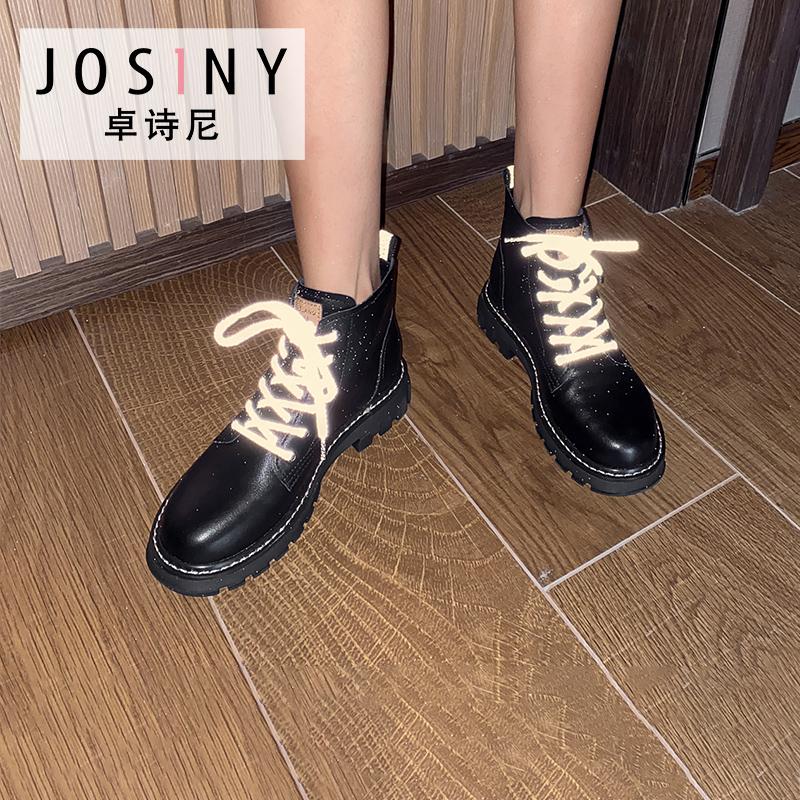 卓诗尼马丁靴女2020冬新款女鞋加绒短靴韩版中筒靴骑士靴女潮ins