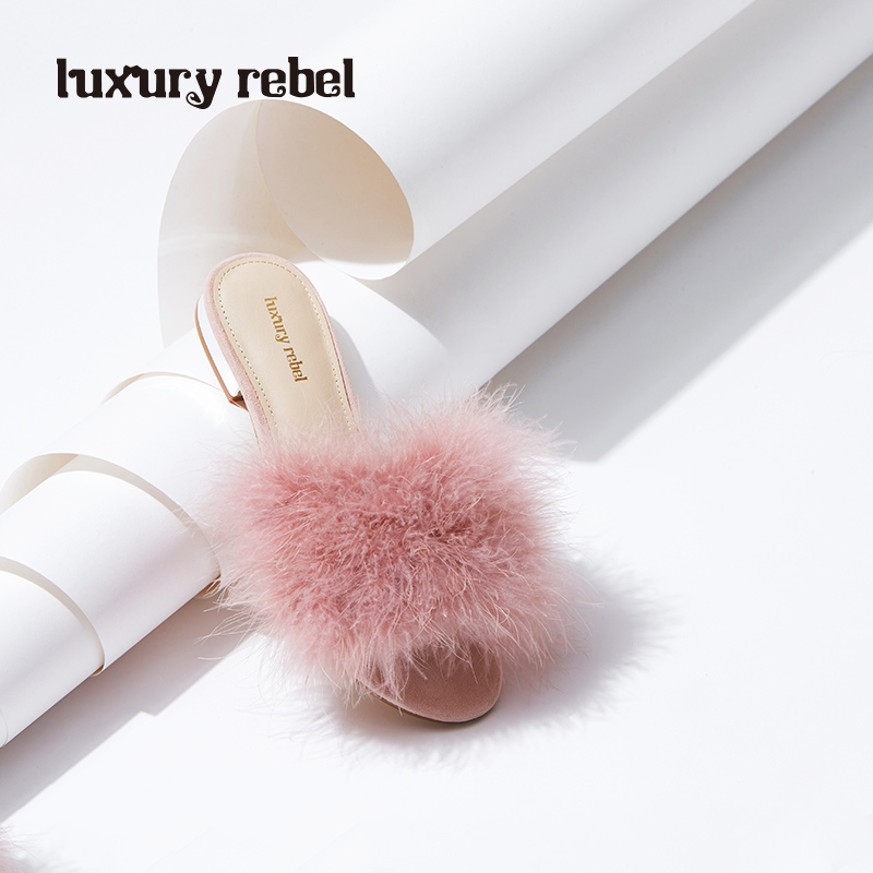 LR女鞋Luxury Rebel 2018春夏新品甜美平底拖鞋一字型舒适女鞋