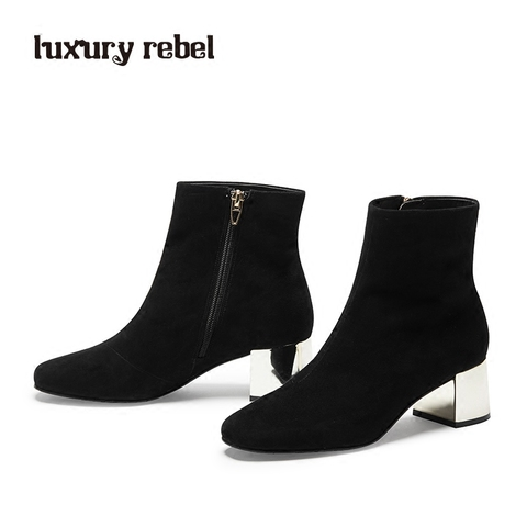 LR女靴Luxury Rebel 2017冬季新款中高跟短靴  单靴/棉靴