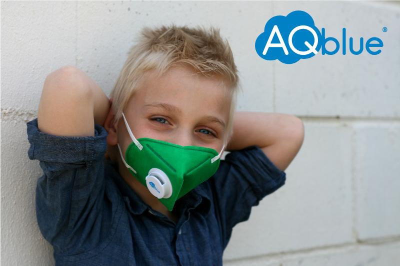 Aqblue mask s small children anti haze PM2.5 anti bacteria color kn95