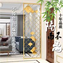 不銹鋼屏風客廳隔斷輕奢鈦金玫瑰金鏤空雕花現代鐵藝簡約裝飾定制