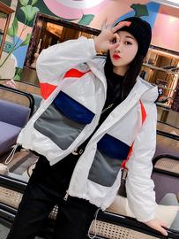 欧货2021冬季新款拼接连帽拉链小众设计bf风百搭蝙蝠袖薄棉外套