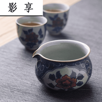DX Jingdezhen hand-painted cauliflower glaze red peony grain tea Sea Retro Fair cup ceramic Kung Fu tea Set uniform cup