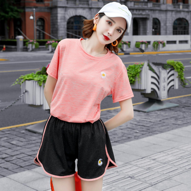 小雏菊速干衣套装网红爆款女时尚运动套装夏两件套情侣DLt袖短裤