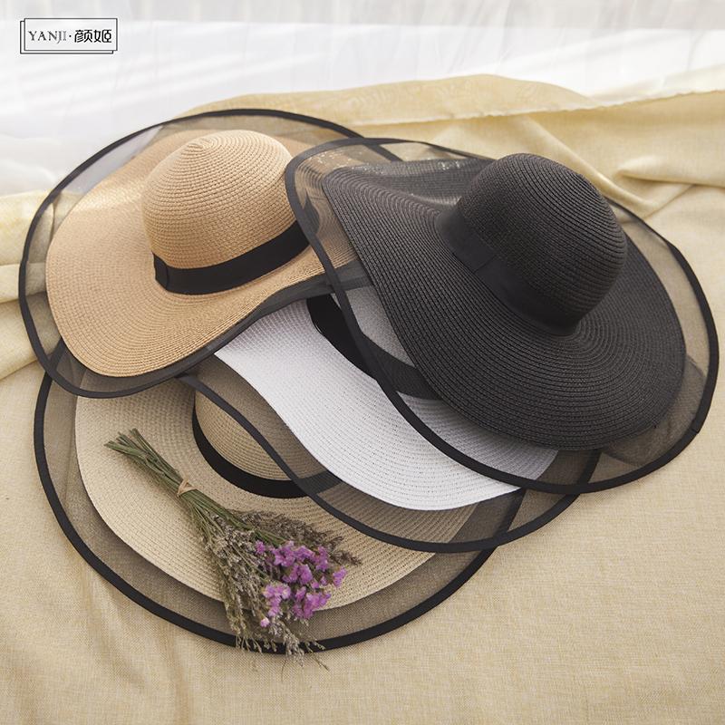 赫本風帽子女夏天防曬遮陽大檐草帽出游太陽帽海邊百搭度假沙灘帽