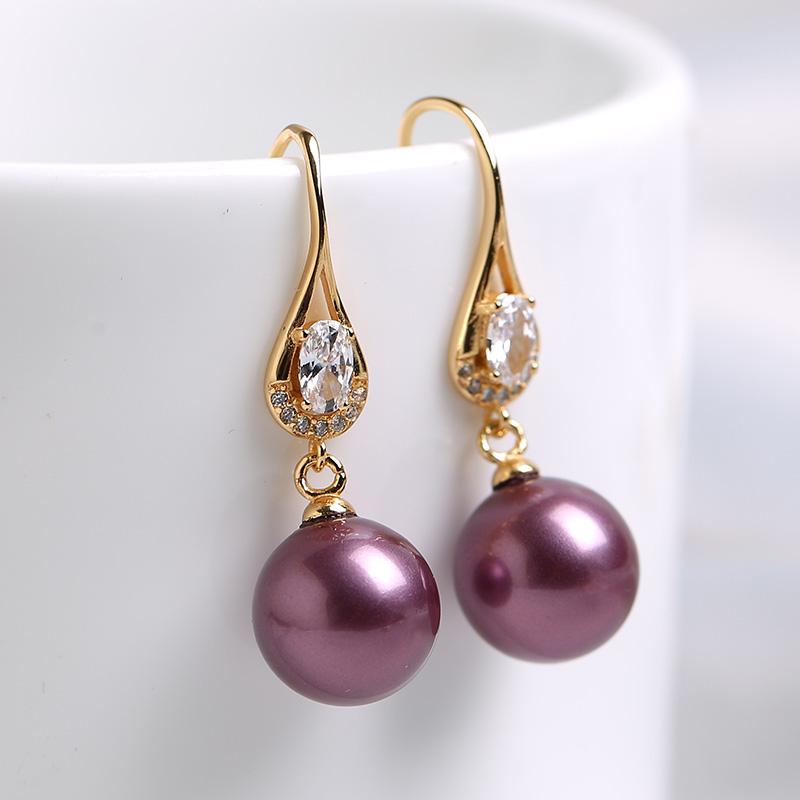 珍珠耳環女單顆吊墜簡約百搭高級感耳墜韓版耳飾貝珠耳勾S925純銀