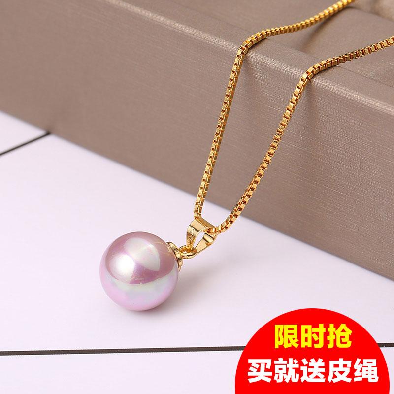 Жемчужина подвески 925 серебро 925 пробы ключица ожерелье природный шариковые оболочки один жемчужина япония и южная корея один золотой простой модель осень женщина