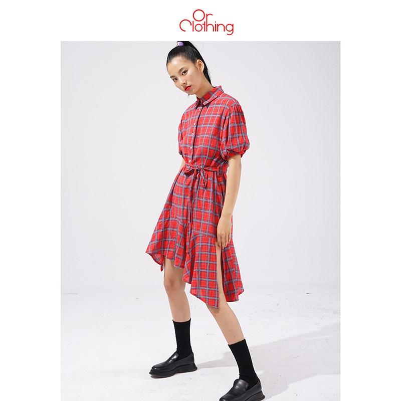 原创 中长款宽松不规则系带格纹短袖衬衫连衣裙 女夏
