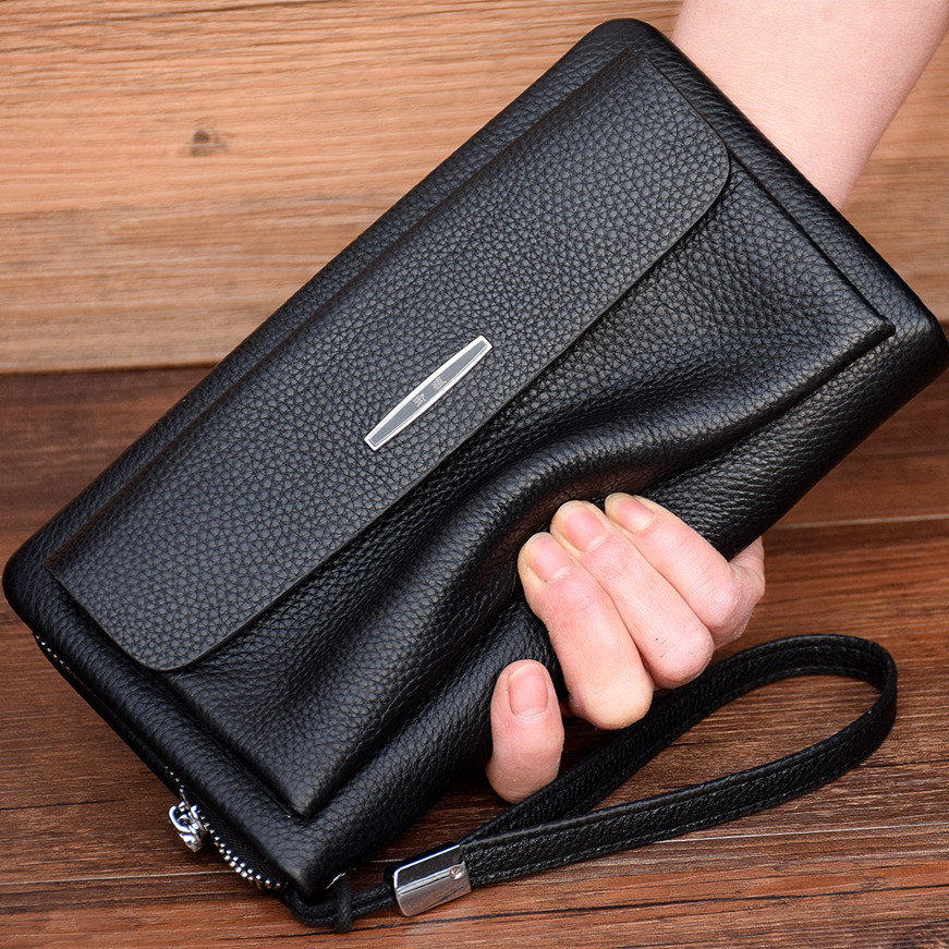 First layer leather handbag mens leather business soft leather bag hand bag large capacity clip bag new fashion in 2019