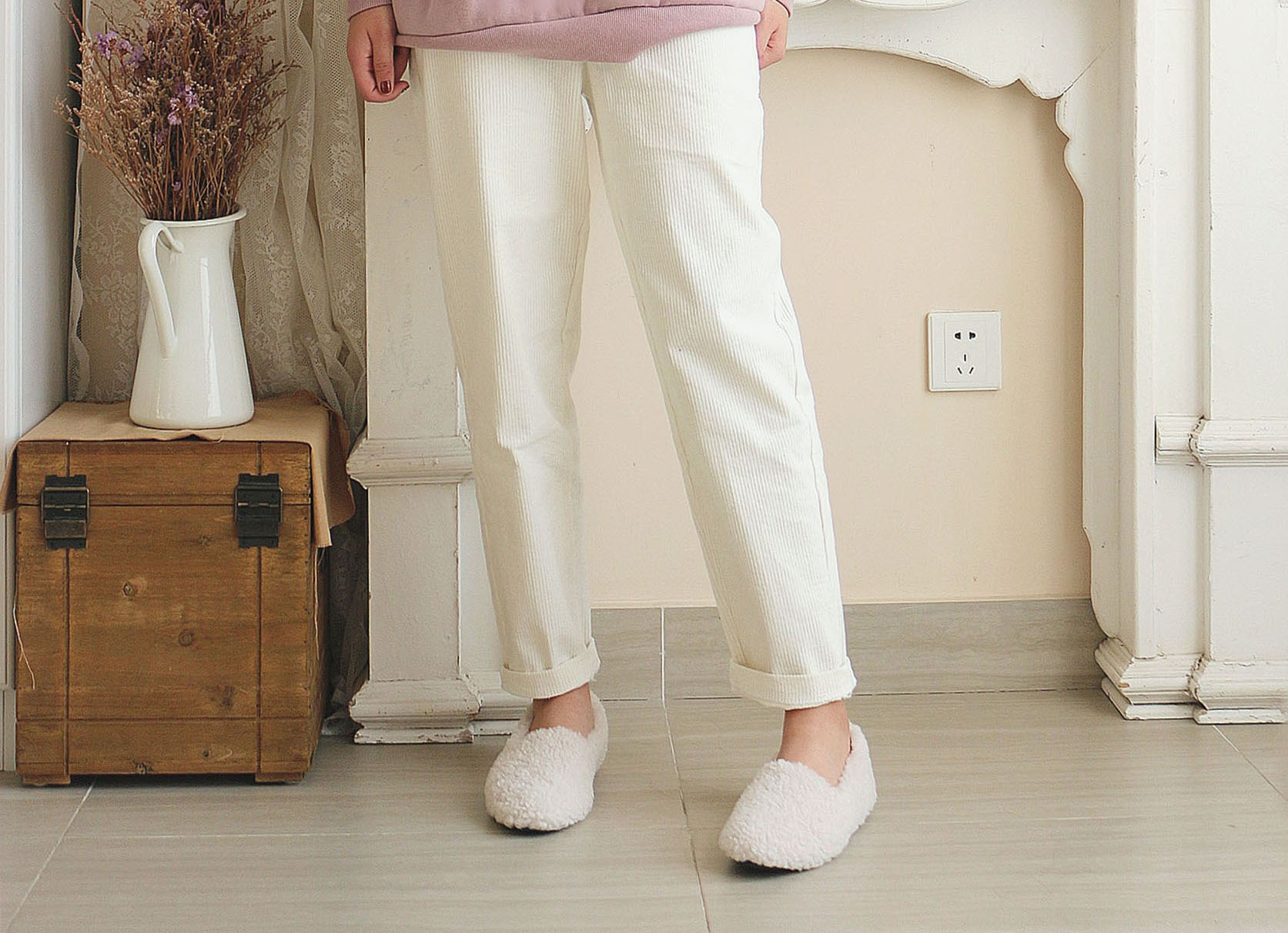 Children of wicker pants spring and Autumn New Korean loose radish pants wide leg Harun pants thickened straight pants women