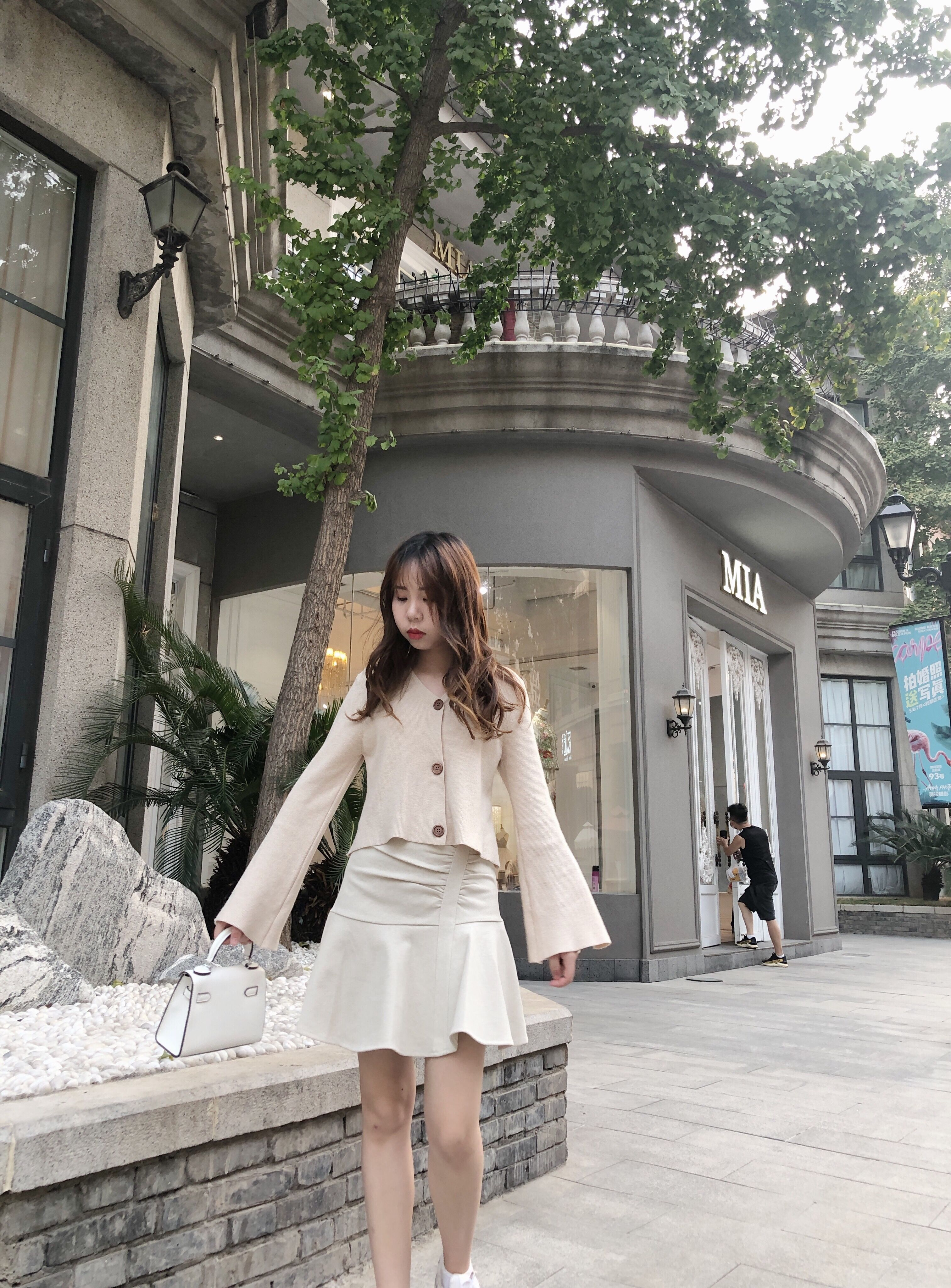 Anhe m solid color V-neck 2021 spring thin loose fit Korean sweater knitted cardigan