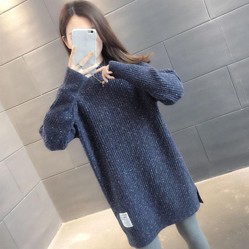 毛衣2020年新款女宽松外穿中长款半高领毛衣女套头加厚内搭打底衫