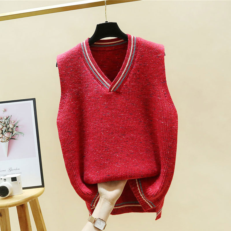 2021 spring new red knitted waistcoat womens loose outer sweater shoulder spring and autumn V-Neck Sweater Vest women