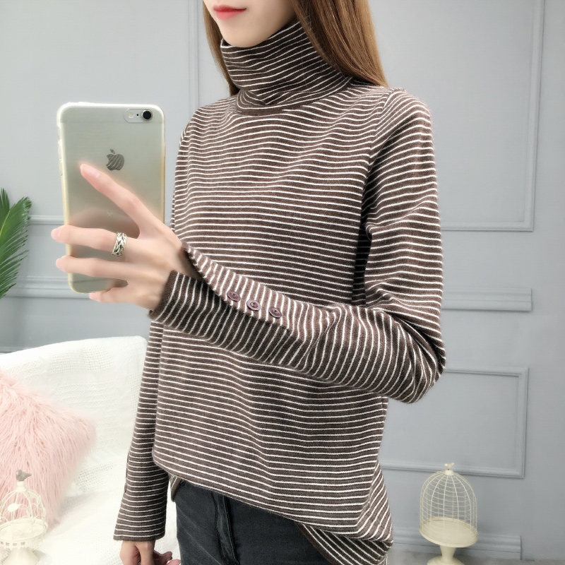 Autumn and winter turtleneck sweater for women 2021 new loose fitting pullover with pile neck and backing sweater for women