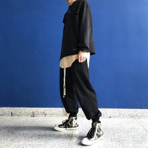 传奇商行legend原创自产高街风街头宽松oversize休闲黑色灰色卫裤
