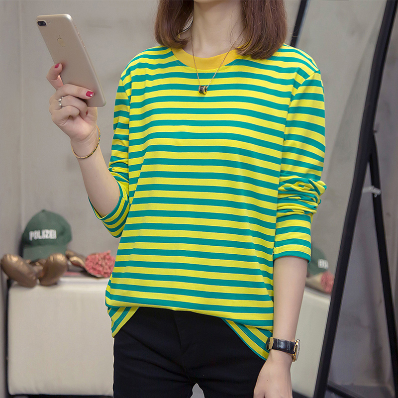 Striped autumn and winter 2019 new all cotton long sleeve T-shirt womens soil blood sports casual top bottomed small shirt