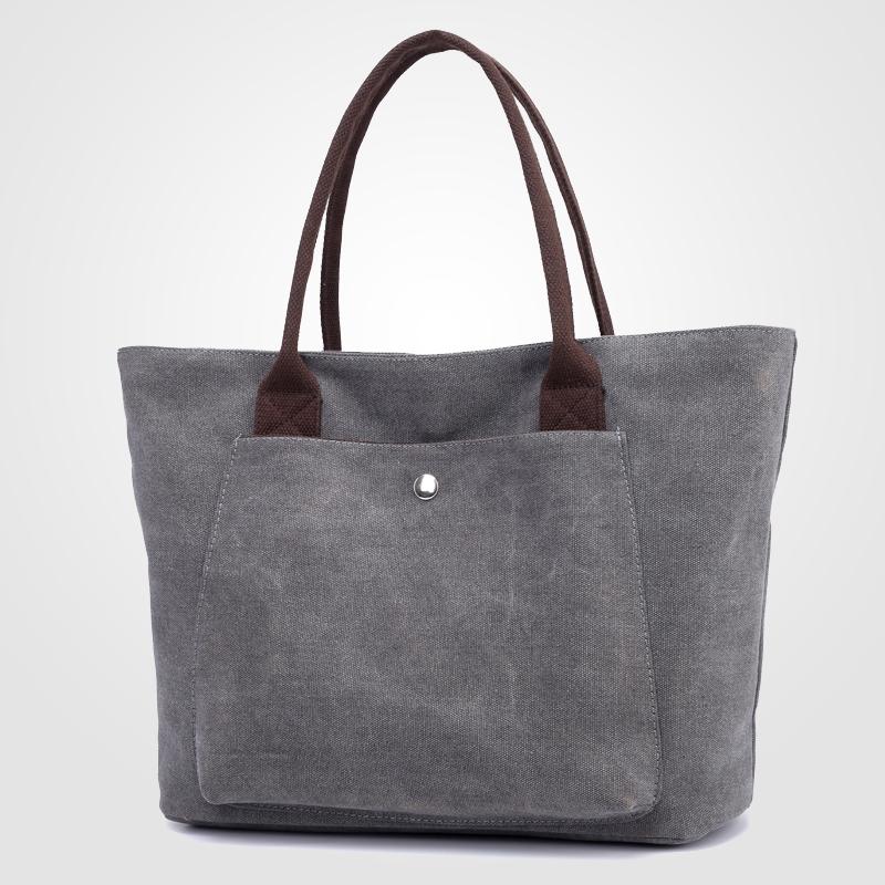 简约帆布女包文艺范百搭女士单肩包大容量购物袋式休闲手提大包