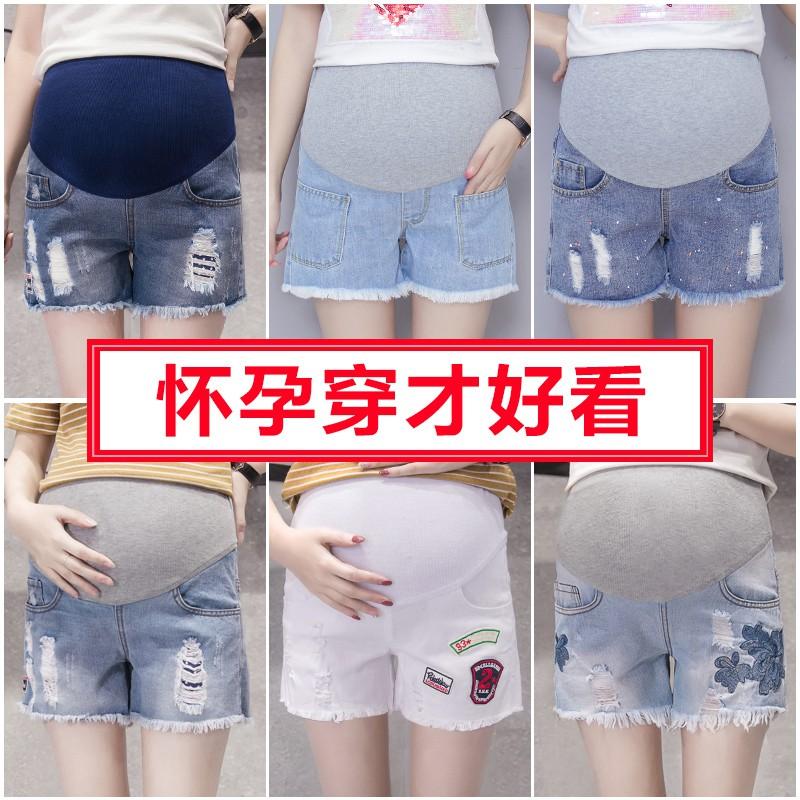 牛仔短裤休闲夏天外穿夏季孕妇短裤百搭新款孕中期妈套装宽松潮