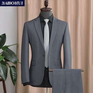 西服套装男士外套商务职业正装灰色春季休闲小西装男修身单件上衣品牌