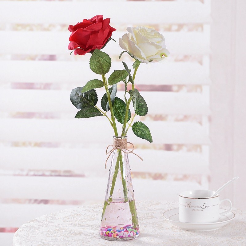 单枝绢花插花仿真花束小塑料花布艺室内单只布花假花一支摆设装饰