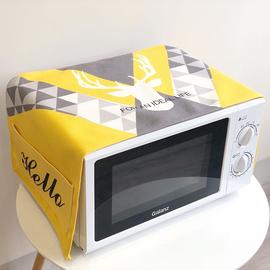 简约微波炉罩防尘罩防水防油厨房棉麻布盖巾北欧家用创意烤箱盖布