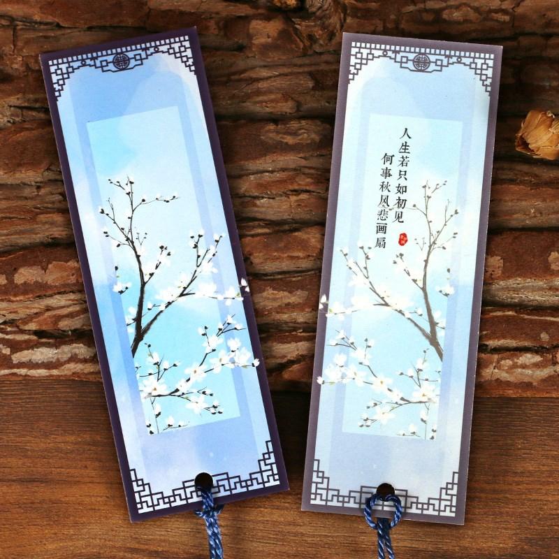 景如画中国古风文具书签 复古典纸质卡片套装 创意流苏学生礼品
