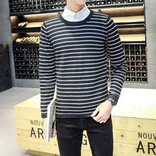 秋季男士韩版圆领针织衫青年修身薄款男装毛线衣学生套头毛衣男潮