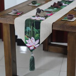 居家布艺餐桌旗现代中式 茶艺布巾茶席长条桌布席三角茶几旗 宽30