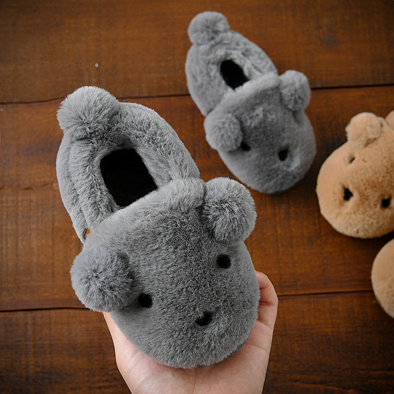 Children's cotton slippers winter 1-3-8 year old male and female baby cotton-padded package with non-slip plush home slippers paternity