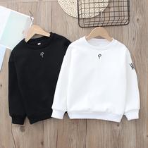 男童纯棉白色卫衣2020春秋季新款中大童韩版宽松运动黑色打底加绒