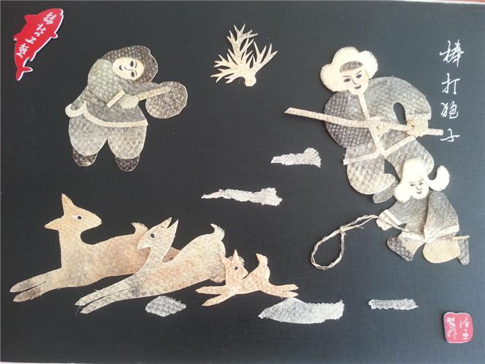 Хеже чистый ручная работа Изготовление рыбной кожи живописи Longjiang признакам этнических картин северо-восточной специальности рыбы кожи продуктов