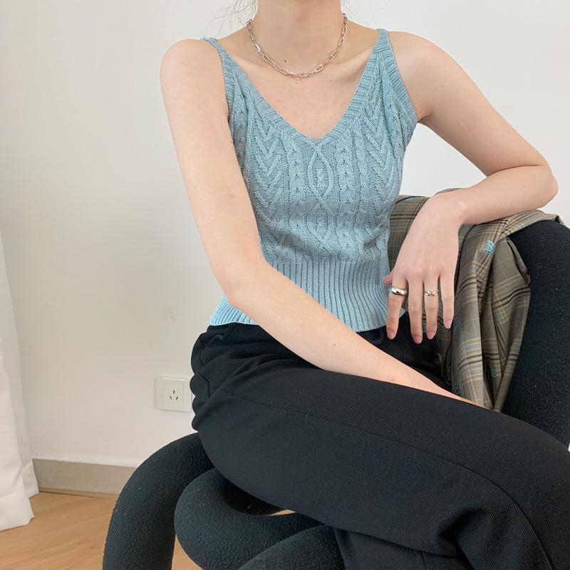 2021 summer knitted suspender female hemp pattern Korean slim fit black sleeveless vest