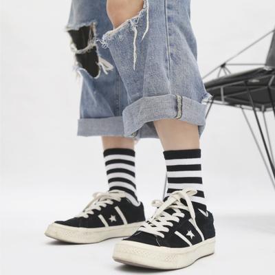 袜子女中筒长袜男潮学院风黑白纯色三杠条纹运动棉袜女ins潮春夏