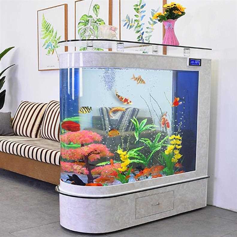 透明自循环生态玻璃金鱼缸客厅造景