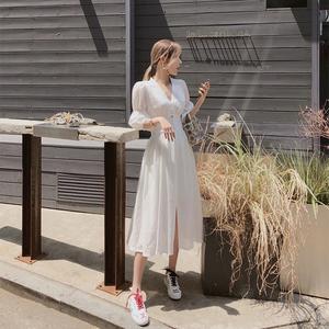 桔梗初恋超仙森系长裙夏季到脚踝长款仙气初恋白色连衣裙女夏气质