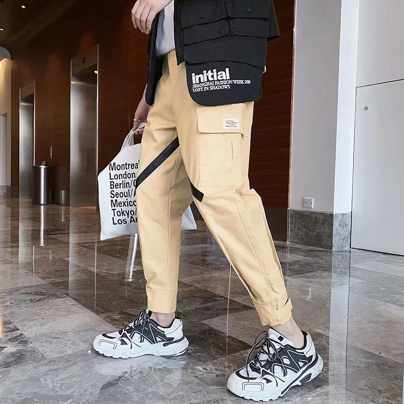 裤子男韩版潮流春季男生运动裤9分裤休闲长裤宽松束脚工装裤小脚
