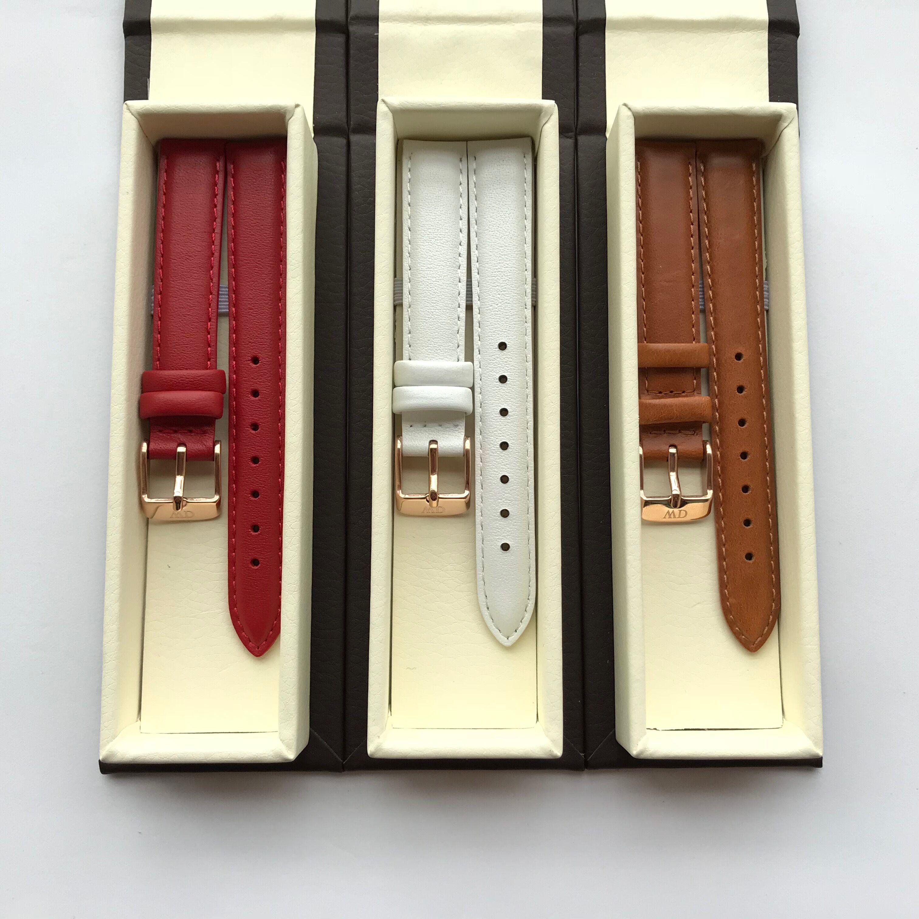 新款dw手表带女红色白色真皮带14mm12mm适配金属钢带32mm28mm表盘
