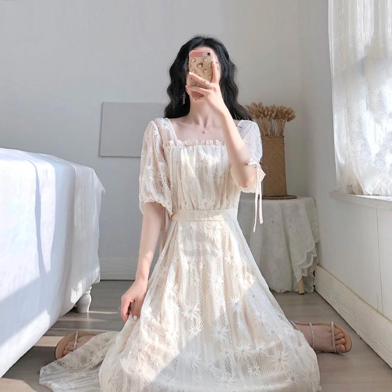 卡所2020夏季新款流行裙子桔梗法式复古气质仙女小香风蕾丝连衣裙图片