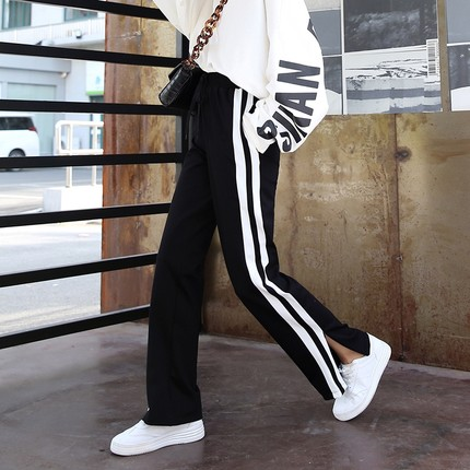 运动裤女长裤2019春夏装新款阔腿裤宽松开叉直筒裤条纹休闲裤