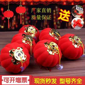 Китайские фонарики,  Красный фонарь флокирование маленькие огни клетка брелок карликовое дерево на открытом воздухе балкон китайский стиль сцена ткань положить новый год выйти замуж праздновать декоративный, цена 144 руб