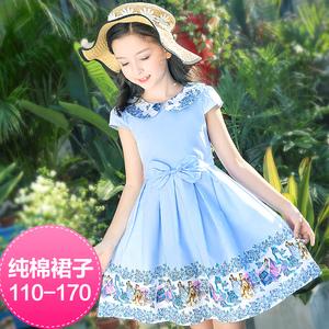4儿童夏装女童连衣裙5短袖6中大童7夏季8小女孩9纯棉公主裙子13岁